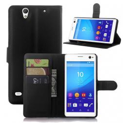 2015 High Quality Luxury Wallet Leather Case For Sony Xperia C4 with Stand and Card Holder 9 Colors in Stock