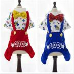 Cartoon Teddy Dog Clothes Dog Jumpsuit Pet Puppy Belt Pants Bowknot Golden Buttons Red/Blue Color XS-XL Option 1 pcs/lot
