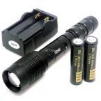 ZOOM CREE XM-L T6 7-Mode 1600 Lumens Zoomable LED Flashlight Lamp Light +2 pcs 4000mAh 18650 battery+ battery Charger