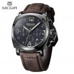 2016 MEGIR роскошный мужчины часы для мужчин 3ATM водонепроницаемый спорт военная наручные серебристые кварцевые часы мужчины часы с календарем