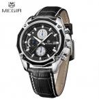 Megir ремень из натуральной кожи часы мужские часы лучший бренд класса люкс 2016 известный кварц человек наручные часы календарь Montre Homme Relojes