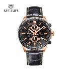 Megir мода часы Men люксовый бренд 2016 военная спорт наручные часы для мужчин часы кожаный ремешок кварцевые мужские часы Montre Homme