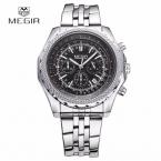Megir люксового бренда мужские часы световой хронограф авто дата спортивные часы для мужчин полный стали кварцевые - военные наручные часы