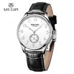Megir новый бренд часы для мужчин часы лучший бренд класса люкс из натуральной кожи золотые часы хронограф спортивного бизнеса Wirstwatch