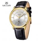 2016 MEGIR мужские часы лучший роскошных часов из натуральной кожи часы унисекс сапфир спорт кварцевые часы Relogio Masculino
