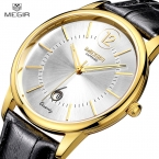MEGIR Роскошный Натуральная Кожа Золотые Часы Женщины Мужчины Мужская Сапфир Простой Тонкий Кварцевые Часы для Мужчин Женщины Повседневная Часы Relojes