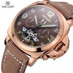 Megir механические часы для мужчин водонепроницаемые роскошные часы мужчины мода из натуральной кожи спортивная военный аналоговый человек наручные часы