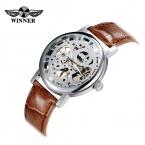 Победитель see-бесплатной через унисекс наручные часы скелет дракон рисунок механические часы ручной анти-обмотки PU кожаный ремешок для часов мода аналоговый