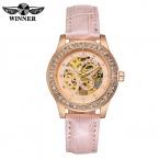 Победитель скелет анти-обмотки женщин механические наручные часы see-бесплатной через бабочки кожаный ремешок горный хрусталь женщин часы