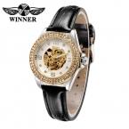 Победитель роскошные женские часы золотые часы люксовый бренд 2016 кожа автоматический механические часы женщины часы Reloj Mujer 2016