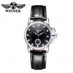 Победитель кожа часы женщины платье часы класса люкс бренда механические женские часы женщины часы наручные часы Reloj Mujer 2016
