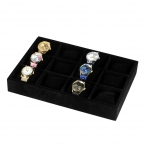 12 сетка ювелирных изделий бархата черные часы коробка дисплея чехол для часы лоток браслет хранения организатор держатель с подушками высокое качество