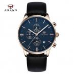 2016 мужская AILANG марка мода свободного покроя часы мужчины водонепроницаемый 50 м секундомер кварцевые часы кожаный ремешок военный наручные часы
