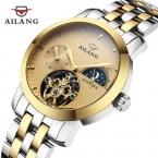 Часы мужчины фазы луны автоматические механические наручные часы для дайвинга 100 м весь сталь часы бизнес золотые часы reloj люксовый бренд AILANG