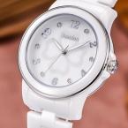 Bestdon женщины белый керамика платье кварцевый часы бабочка клевер relogio feminino часы леди наручные часы