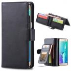 Классический черный кожаный бумажник чехол для Samsung Galaxy S5 / S6 / S6 край / S6 края плюс / 4 / Note 5 высокое качество