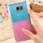 Радуга шику блеск прозрачный чехол для Samsung Galaxy примечание 5 телефоны тонкий мягкие TPU сверкают звезды задняя крышка для галактики примечание 5 N9200