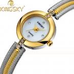 Высокое Качество, Модные Элегантный Кварцевые часы Сплава Группы Часы KINGSKY Платье Наручные Часы Аналоговые Кварцевые Женские Часы HE8011