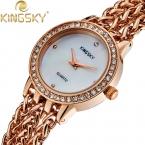 Kingsky розовое золото CZ кристалл сплав цепь группа часы новинка аналоговый японский кварцевый для девушки женщины часы HE8003