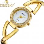 Kingsky наручные часы золото 3 цвета CZ кристалл сплава группа часы новинка свободного покроя аналоговый японский кварцевый для девушка смотрит HE8007