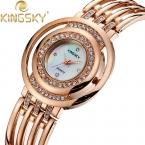 Kingsky часы белый желтый розовое золото искусственный алмаз сплав группа аналоговые японский кварцевый для мода occations часы