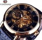 Forsining 3d дизайн логотипа полые гравировка черное золото чехол кожа скелет механические часы мужчины люксовый бренд Heren Horloge