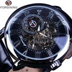 Forsining 3D буквальное дизайн роман число черный циферблат дизайнерские часы мужчины люксовый бренд Erkek коль саати часы-скелетоны часы мужчины
