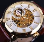 Forsining 3d дизайн логотипа полые гравировка белый золотой циферблат золотые часы мужчины люксовый бренд мужчины наручные часы скелет механические часы