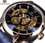Forsining 2 малый набор украшение роскошные золотые часы мужчины механическая кожаный ремешок мужской топ бренда мужчины наручные часы Erkek специальную