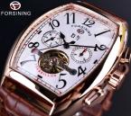 Forsining площадь механические дизайн роуз чехол белый циферблат коричневый кожаный ремешок мужские часы лучший бренд класса люкс автоматические часы