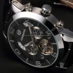 Классические Авто Механические Часы Tourbillon Корпус Из Нержавеющей Стали Кожаный Ремешок Черный Циферблат Дата Год Месяц Дисплей Мужчины Наручные Часы
