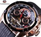 Forsining многофункциональный турбийон дата день дисплей роза золотые часы мужчины люксовый бренд автоматические часы мода мужчины спортивные часы