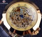 Forsining синий игла дракон нерегулярные чехол дизайн часы золотые часы мужчины люксовый бренд часы с автоподзаводом кожаный ремешок часы