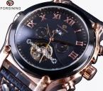 Forsining роуз чехол турбийон классический дизайн кожаный ремешок часы мужские часы лучший бренд класса люкс автоматические часы