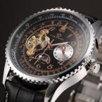 Forsining Tourbillon Дизайн Moon Phase 24 часов Мужские Часы Лучший Бренд Класса Люкс Швейцарские Часы Мужчины Черный Кожаный Ремешок Автоматические Часы