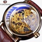 2016 Forsining золотой чехол половина скелет дизайн коричневый кожаный ремешок мужчины бизнес часы люксовый бренд автоматические часы Montre Homme
