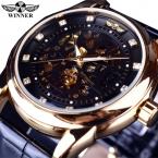 Победитель королевский бриллиант дизайн черного золота часы Montre Homme мужские часы лучший бренд класса люкс Relogio мужской скелет механические часы