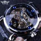 Победитель Черный Скелет Дизайнер Синий Гравировка Часы Мужчины Кожаный Ремешок Мужские Часы Лучший Бренд Класса Люкс Автоматические Часы Montre Homme