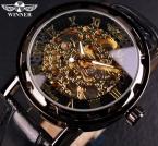 Черное Золото Ретро Мужские часы Скелетон Мужские Часы Роскошный Бренд Кожанный Ремешок Ручные Механические Мужские Часы