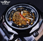 2015 победитель мода свободного покроя выдолбите дизайн известная марка Montre Homme черный золотые часы мужчины люксовый бренд автоматические наручные часы