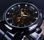 Победитель алмаз скелет дизайн черный золотой часы скелет мужчины часы Horloge Erkek специальную мужских часов мужчины Orologio Uomo