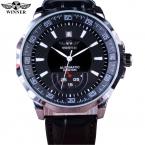 Победитель механические черный высокое качество кожа календарь автоматические часы часы мужские спортивные часы мужской Relogio Masculino Esportivo