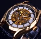 Победитель навигатор серии ретро золотой скелет белый часы автоматическая мужчины кожа наручные часы мужские часы автоматическая роскошные лучший бренд