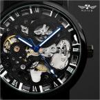 Классический прозрачный стимпанк Montre Homme черный ретро свободного покроя мужские часы лучший бренд класса люкс полный стали скелет механические часы