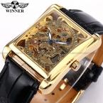 Победитель скелет золотые часы ретро-дизайнер прямоугольник черный кожаный мужчины свободного покроя люди вахты люксовый бренд автоматического механические часы