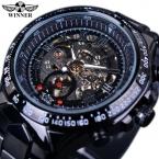 Победитель черный циферблат из нержавеющей стали Horloge часы мужчины люксовый бренд автоматического скелет спортивный стиль часы часы мужчины военные часы