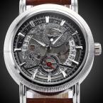 Победитель скелет мужской relógio Masculino роскошный автоматический часы дизайнер аналоговый кожа свободного покроя часы военные механические часы