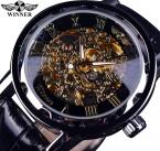 Победитель черный золотой скелет часы мужчины люксовый бренд механические часы черный кожаный ремешок Montre Homme Relogios мужские наручные часы