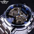 Победитель синий океан мода свободного покроя дизайнер из нержавеющей стали мужчины часы-скелетоны мужские часы лучший бренд класса люкс автоматические часы часы