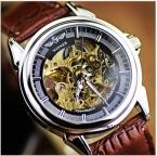 Победитель коричневый кожаный простой круглый циферблат прозрачный скелет мужские автоматические механические часы мужчины роскошные мужской Relogio Masculino
